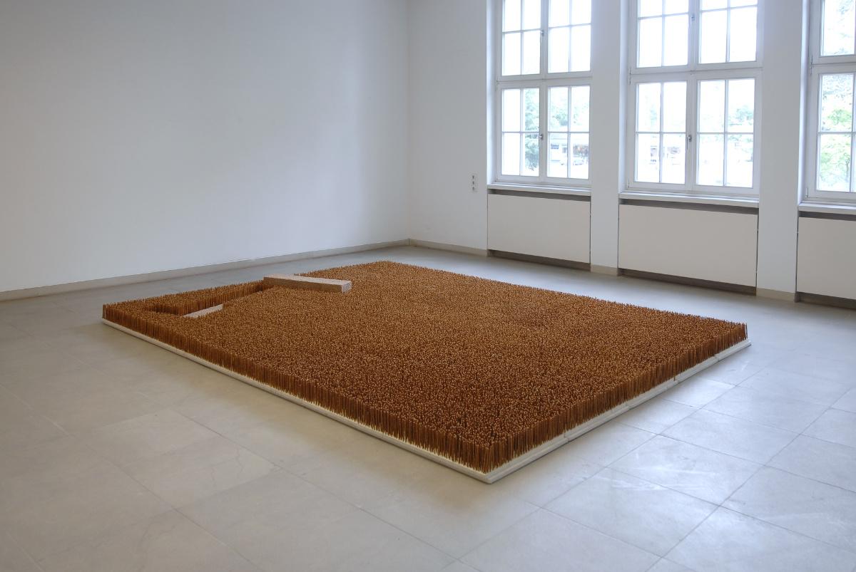 Garten V, 2010, Salzstangen, Knäckebrot, Styropor, Karton, 375 X 310 X 22 Cm, Kunstmuseum Baden, Solingen