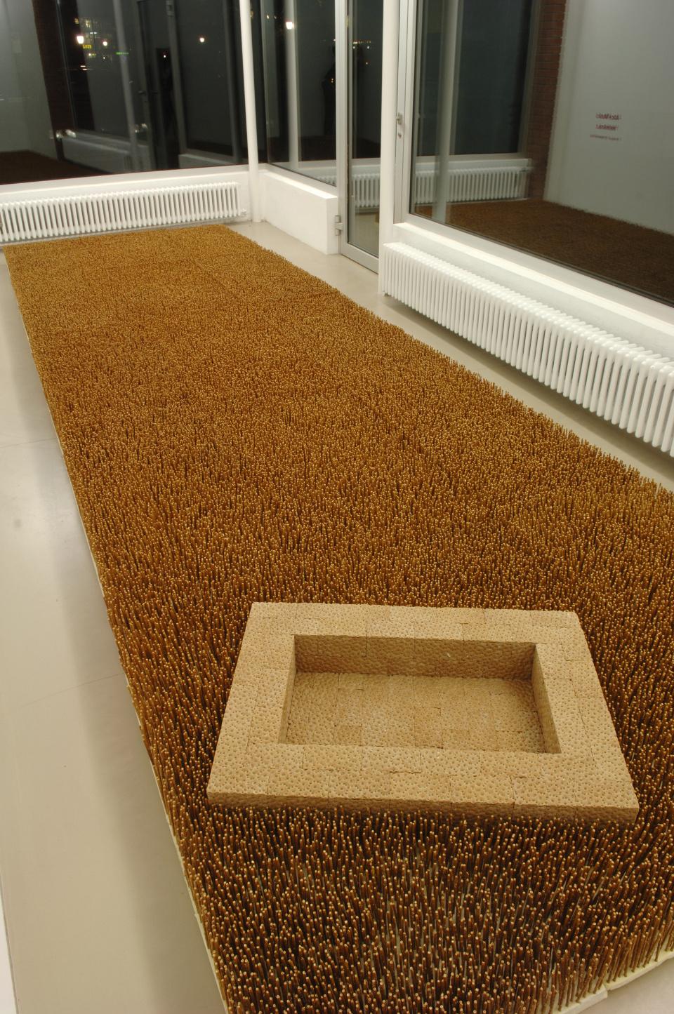 Garden III, Pretzel Sticks, Styrofoam, Crispbread, Cardboard, 625 X 180 X 16 Cm, Wilfried Von Gunten, Thun
